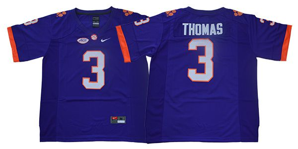 Men Clemson Tigers 3 Thomas Purple Nike NCAA Jerseys