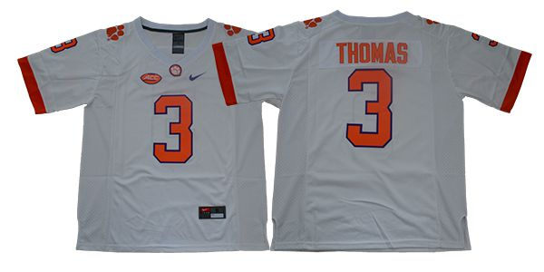 Men Clemson Tigers 3 Thomas White Nike NCAA Jerseys