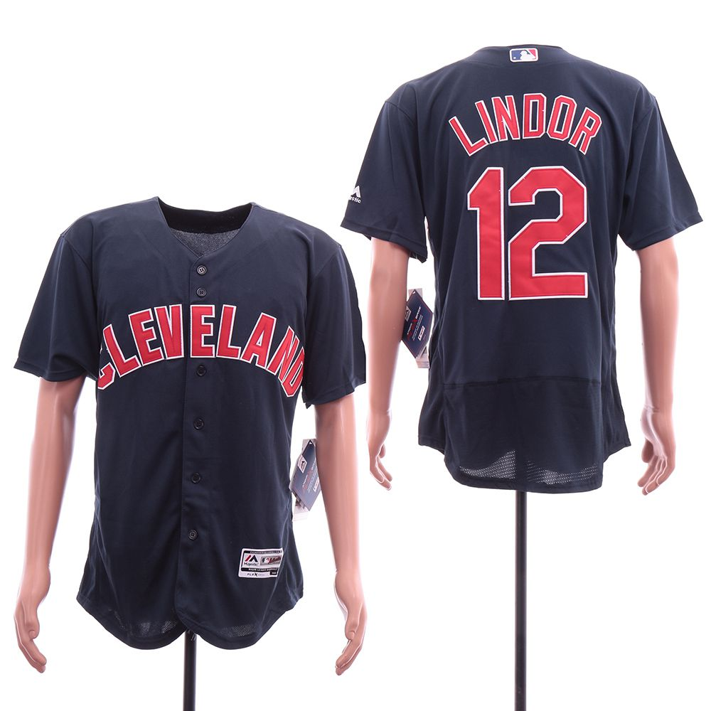 Men Cleveland Indians 12 Lindor Blue Elite MLB Jerseys