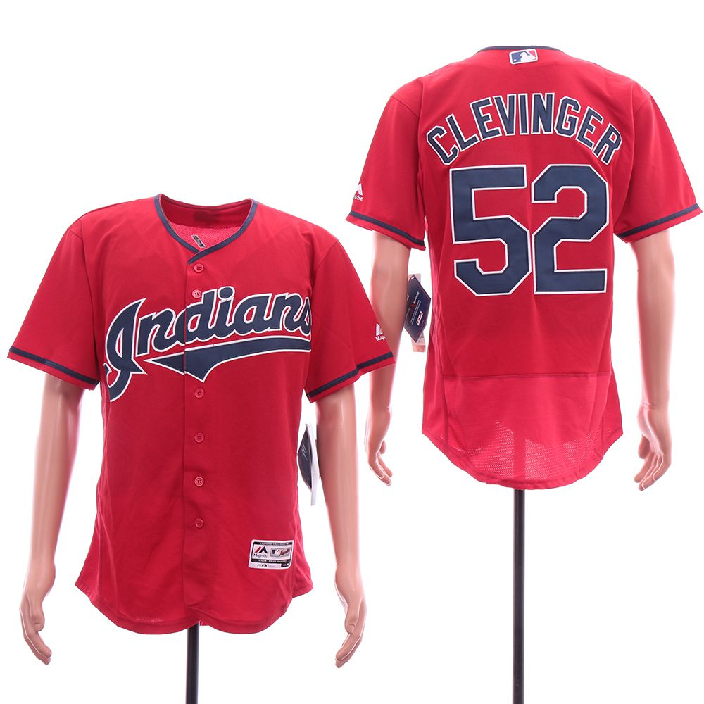 Men Cleveland Indians 52 Clevinger Red Elite MLB Jerseys
