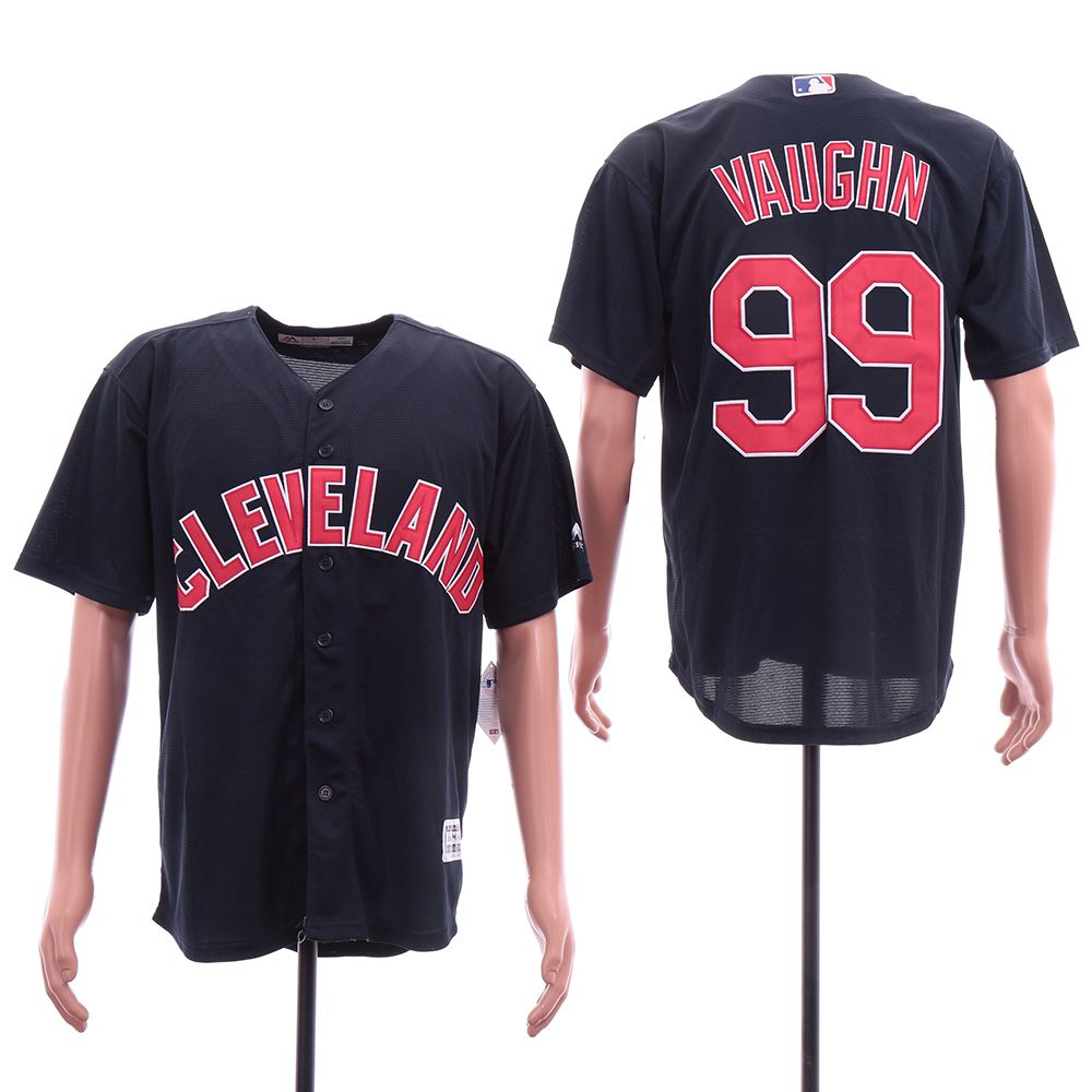 Men Cleveland Indians 99 Vaughn Blue Elite MLB Jerseys