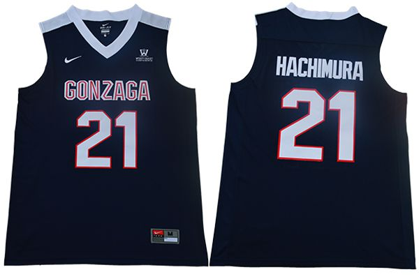 Men Gonzaga Bulldogs 21 Hachimura Blue Nike NCAA Jerseys