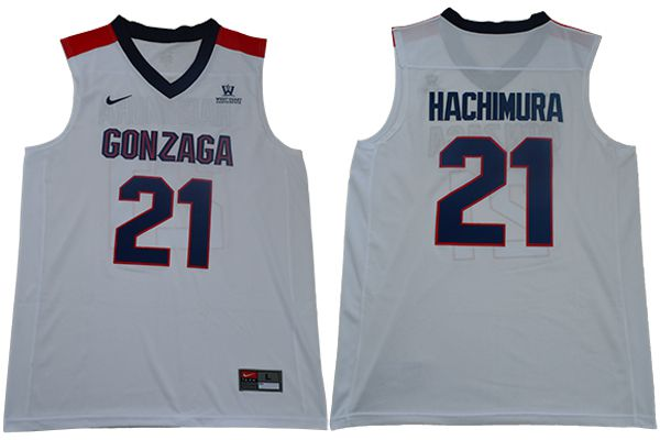 Men Gonzaga Bulldogs 21 Hachimura White Nike NCAA Jerseys