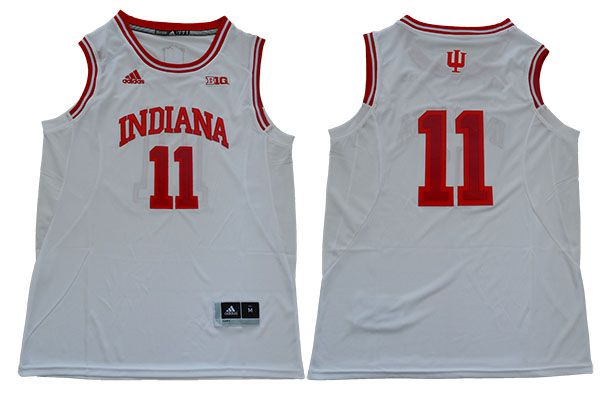 Men Indiana Hoosiers 11 Isiah Thomas White Adidas NBA NCAA Jerseys