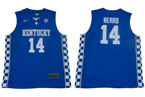 Men Kentucky Wildcats 14 Herro Blue Nike NBA NCAA Jerseys