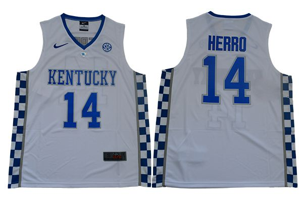 Men Kentucky Wildcats 14 Herro White Nike NBA NCAA Jerseys