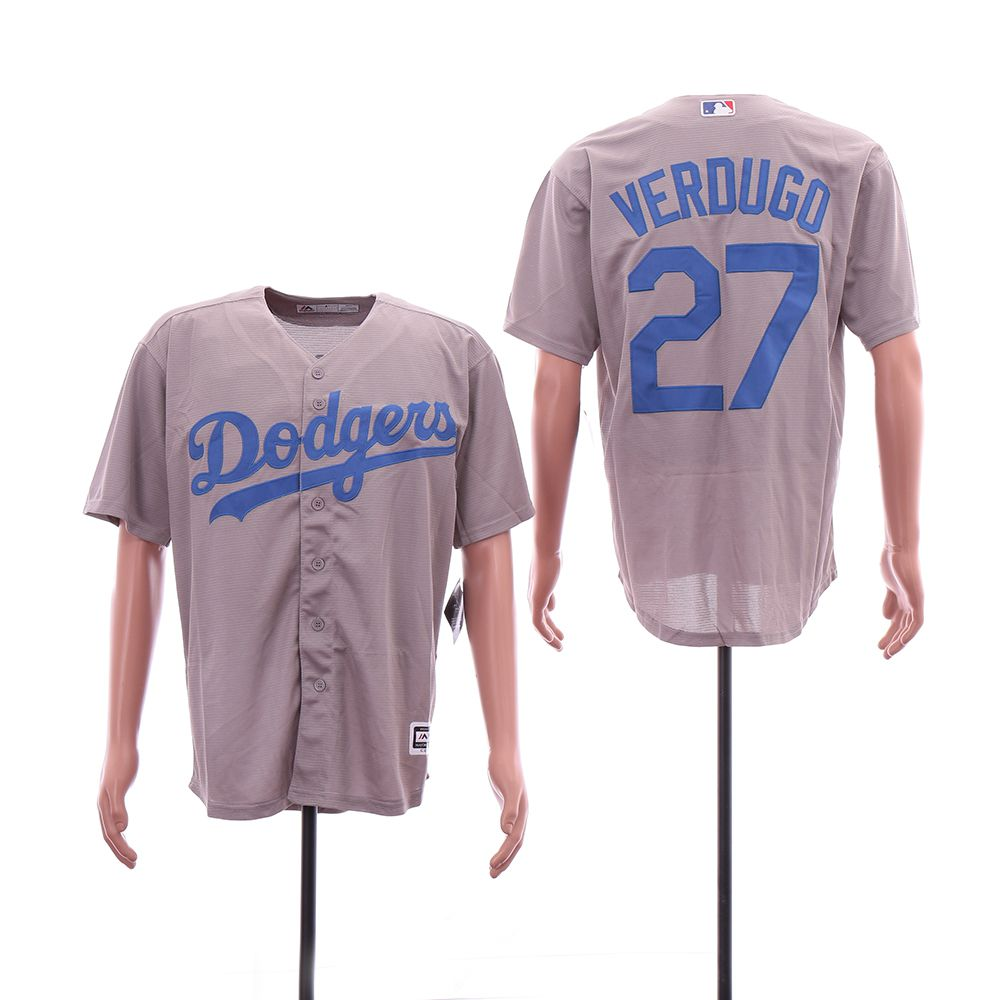 Men Los Angeles Dodgers 27 Verdugo Grey Game MLB Jersey