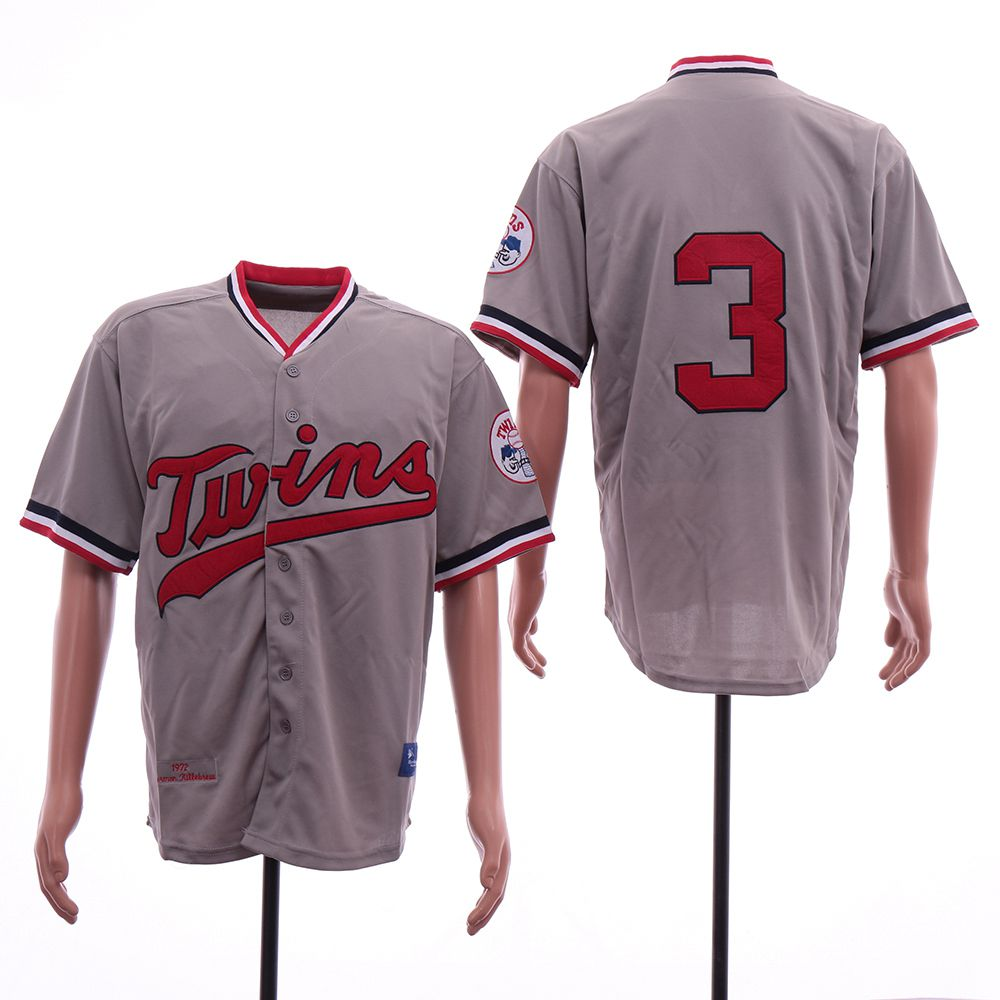 Men MLB Minnesota Twins 3 Killebrew Grey Throwback Jerseys