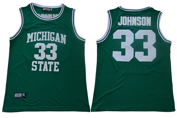 Men Michigan State Spartans 33 Johnson Green Throwback NBA NCAA Jerseys