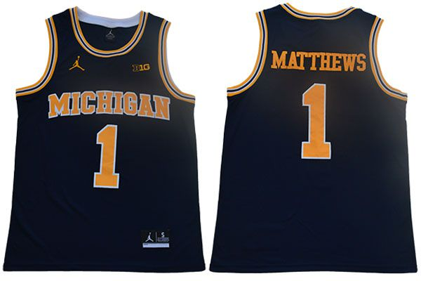 Men Michigan Wolverines 1 Matthews Blue NBA NCAA Jerseys