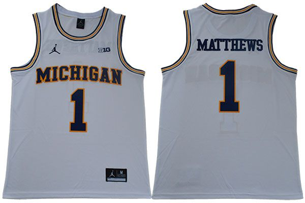 Men Michigan Wolverines 1 Matthews White NBA NCAA Jerseys