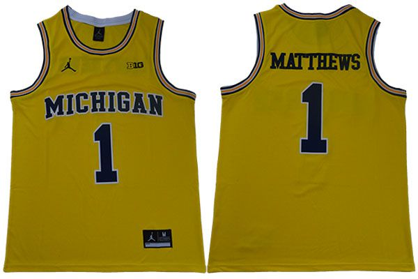 Men Michigan Wolverines 1 Matthews Yellow NBA NCAA Jerseys
