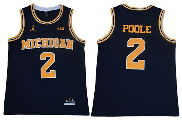 Men Michigan Wolverines 2 Poole Blue NBA NCAA Jerseys