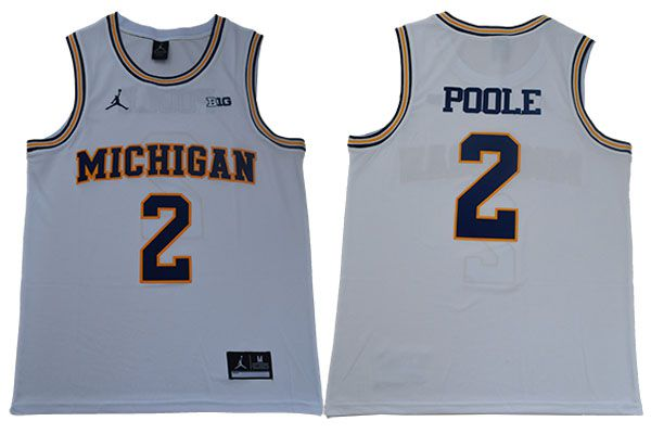 Men Michigan Wolverines 2 Poole White NBA NCAA Jerseys