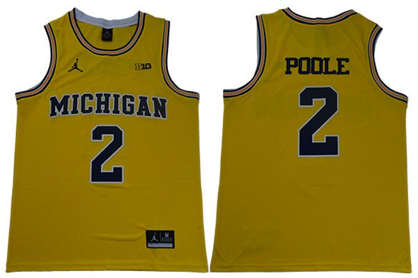 Men Michigan Wolverines 2 Poole Yellow NBA NCAA Jerseys