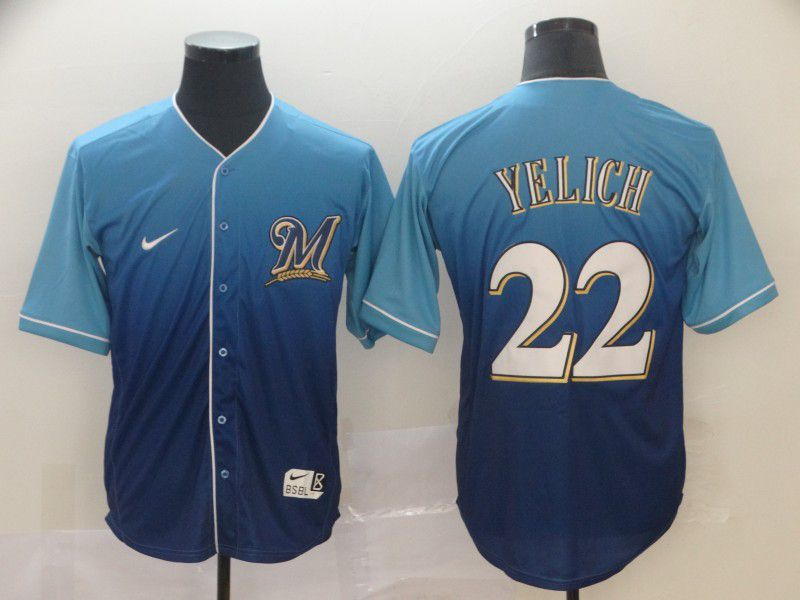 Men Milwaukee Brewers 22 Yelich Blue Nike Fade MLB Jersey