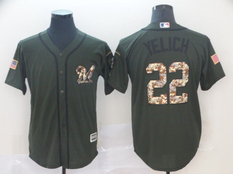 Men Milwaukee Brewers 22 Yelich Green MLB Jersey