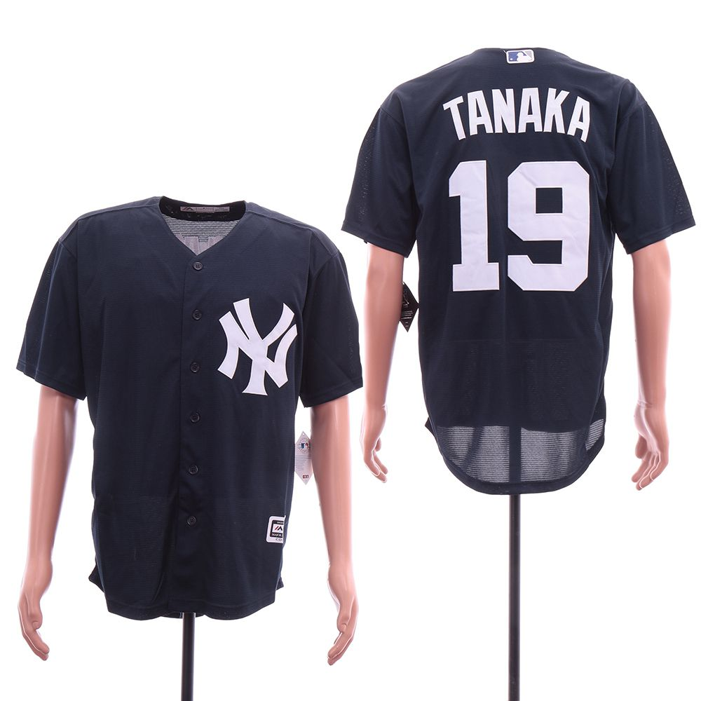 Men New York Yankees 19 Tanaka Blue Elite MLB Jerseys