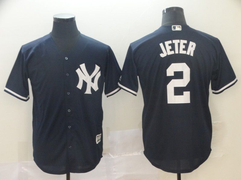 Men New York Yankees 2 Jeter Blue Game MLB Jersey