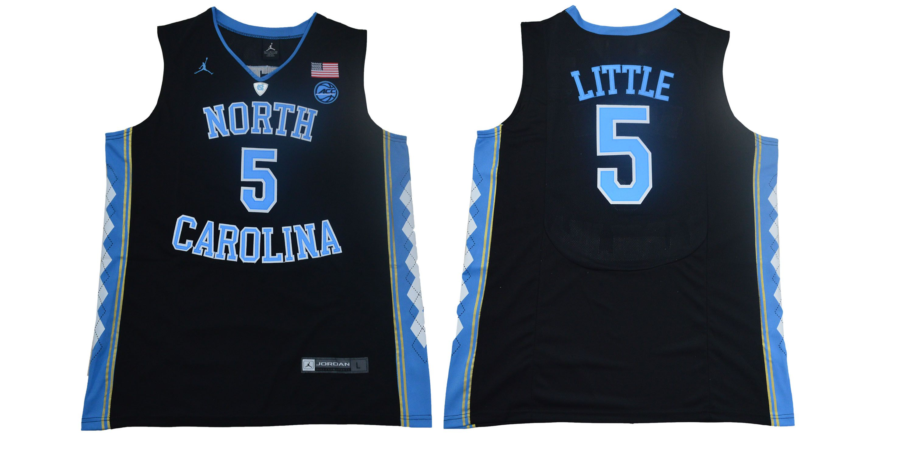 Men North Carolina Tar Heels 5 Little Black NBA NCAA Jerseys