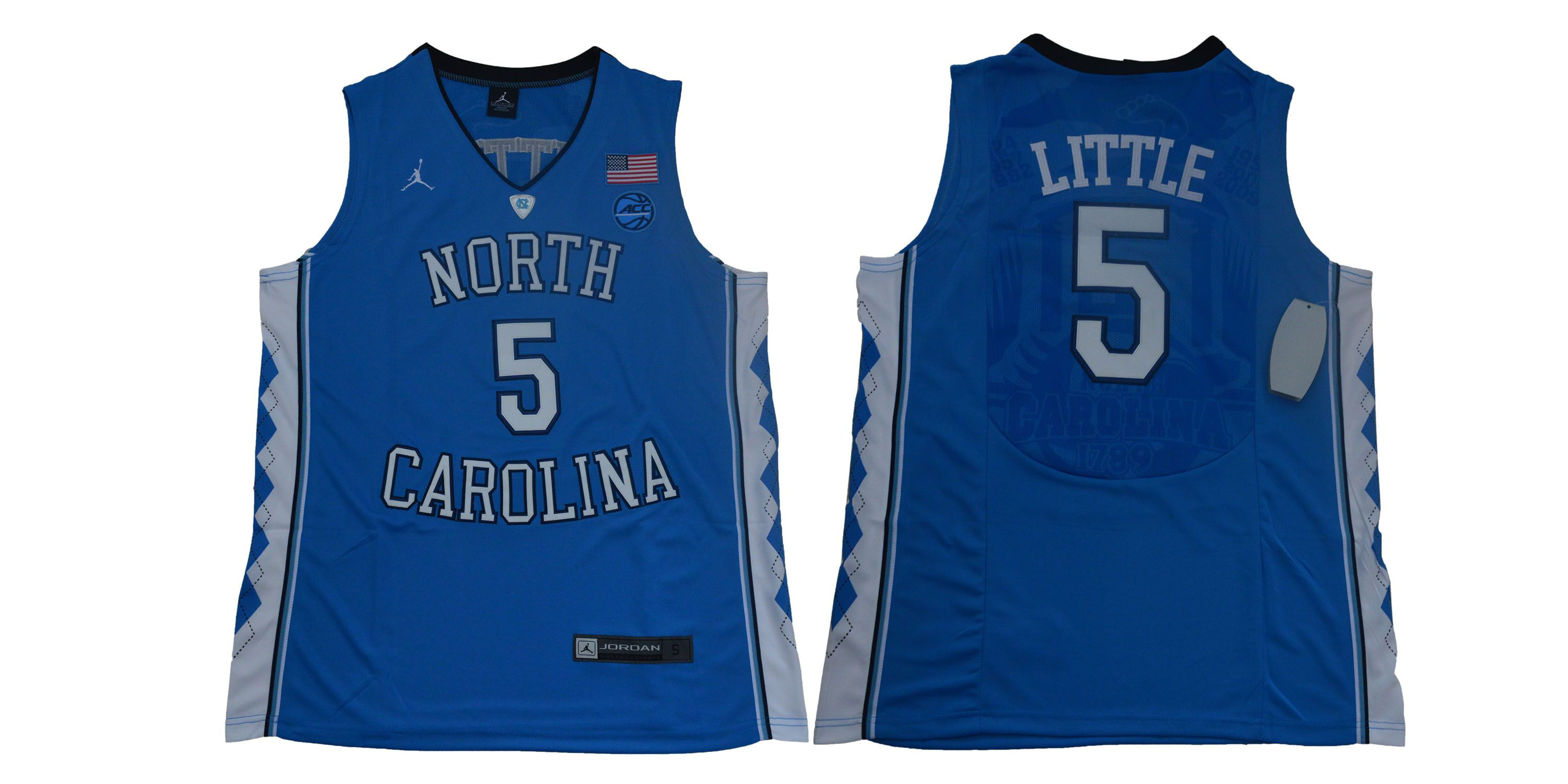 Men North Carolina Tar Heels 5 Little Blue NBA NCAA Jerseys