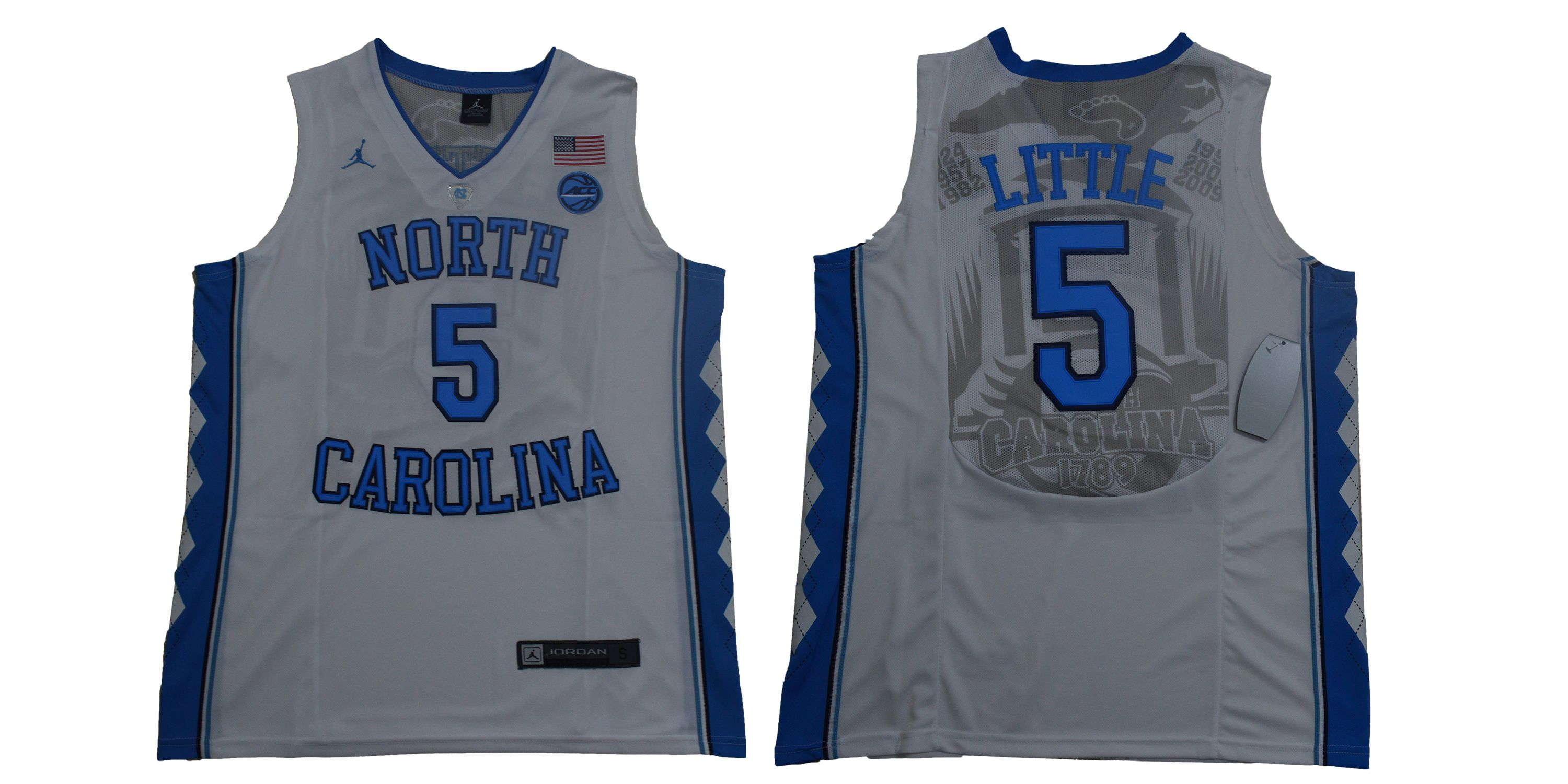 Men North Carolina Tar Heels 5 Little White NBA NCAA Jerseys