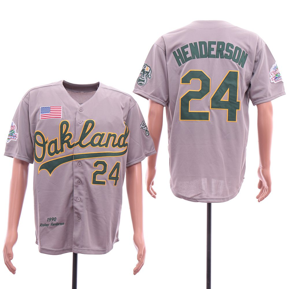 Men Oakland Athletics 24 Henderson Grey Throwback 1990 MLB Jerseys
