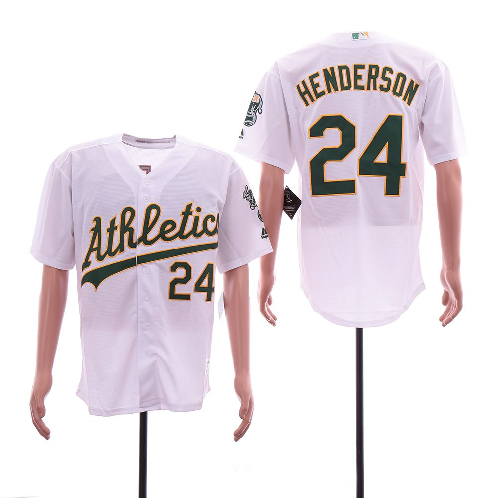 Men Oakland Athletics 24 Henderson White Game MLB Jerseys