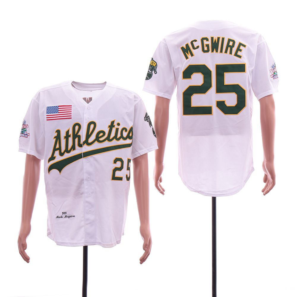 Men Oakland Athletics 25 Mcgwire White Throwback 1989 MLB Jerseys