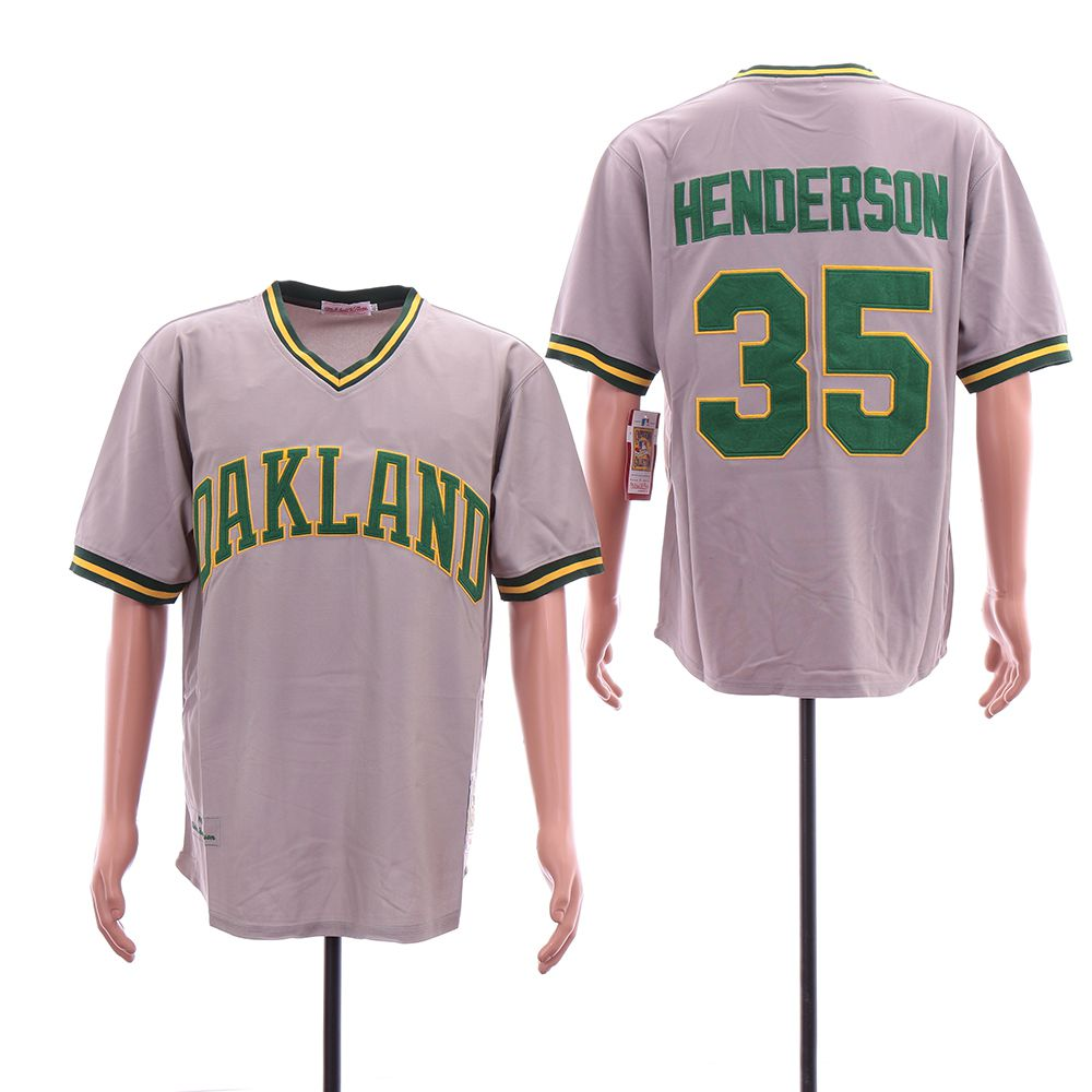 Men Oakland Athletics 35 Henderson Grey Throwback MLB Jerseys