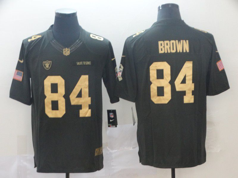 Men Oakland Raiders 84 Brown Gold Anthracite Salute To Service Limited NFL Jerseys