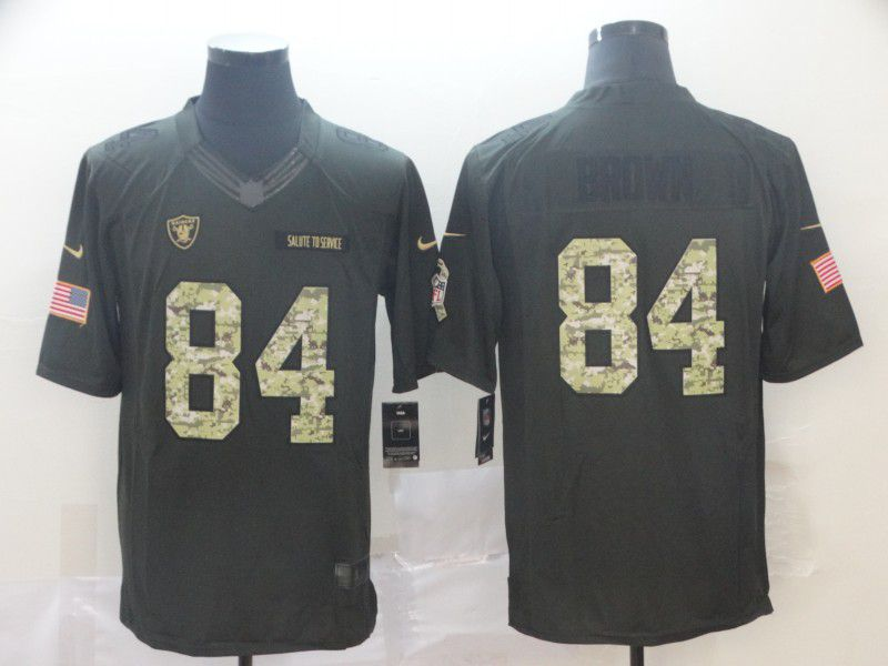 Men Oakland Raiders 84 Brown Green Nike Salute To Service Limited NFL Jerseys