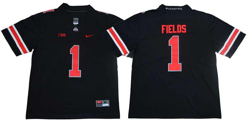 Men Ohio State Buckeyes 1 Fields Black Nike NCAA Jerseys