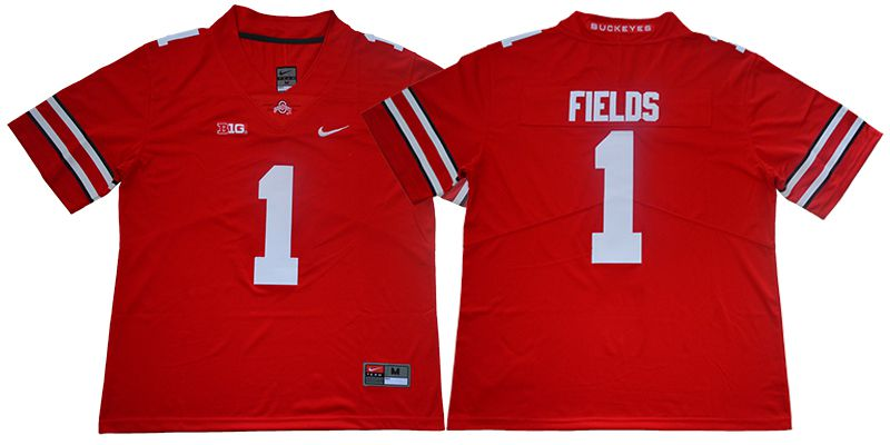 Men Ohio State Buckeyes 1 Fields Red Nike NCAA Jerseys