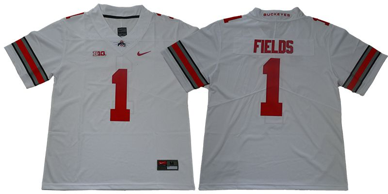 Men Ohio State Buckeyes 1 Fields White Nike NCAA Jerseys