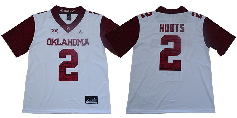 Men Oklahoma Sooners 2 Hurts White NCAA Jerseys