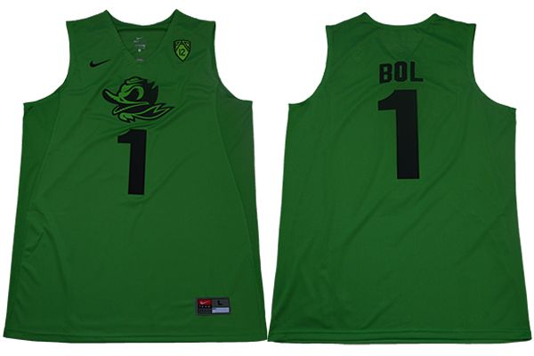 Men Oregon Ducks 1 Bol Light green Nike NCAA Jerseys
