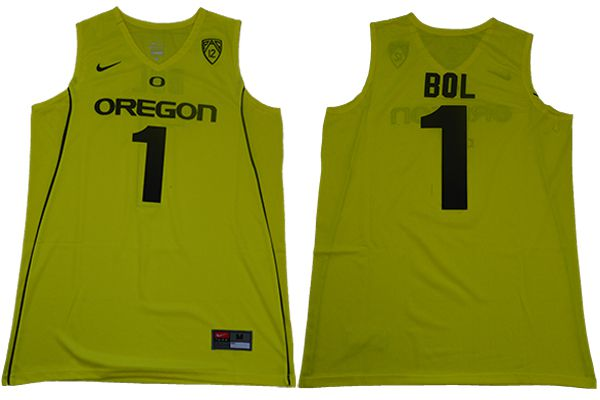 Men Oregon Ducks 1 Bol Yellow Nike NCAA Jerseys