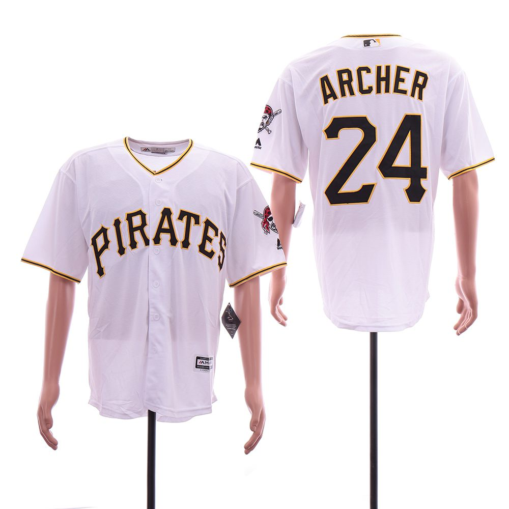 Men Pittsburgh Pirates 24 Archer White Game MLB Jerseys