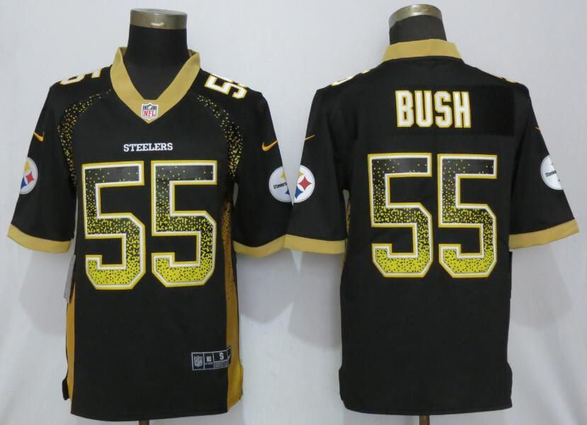 Men Pittsburgh Steelers 55 Bush Black Nike Vapor Untouchable Drift Fashion NFL Jerseys