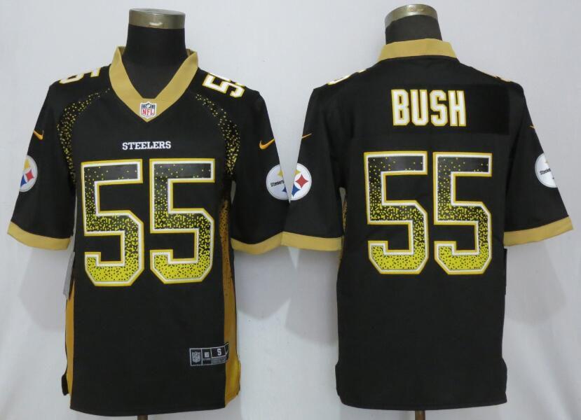ca76bf6398b Men Pittsburgh Steelers 55 Bush Black Nike Vapor Untouchable Drift Fashion  NFL Jerseys