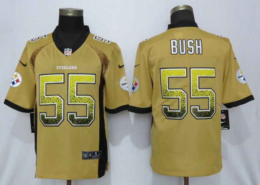 Men Pittsburgh Steelers 55 Bush Yellow Nike Vapor Untouchable Drift Fashion NFL Jerseys