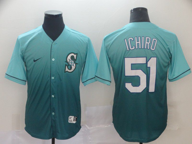 Men Seattle Mariners 51 Ichiro Green Nike Fade MLB Jersey