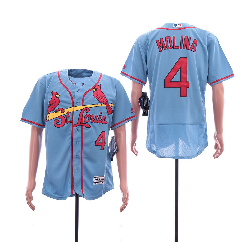 Men St. Louis Cardinals 4 Molina Blue Elite MLB Jerseys