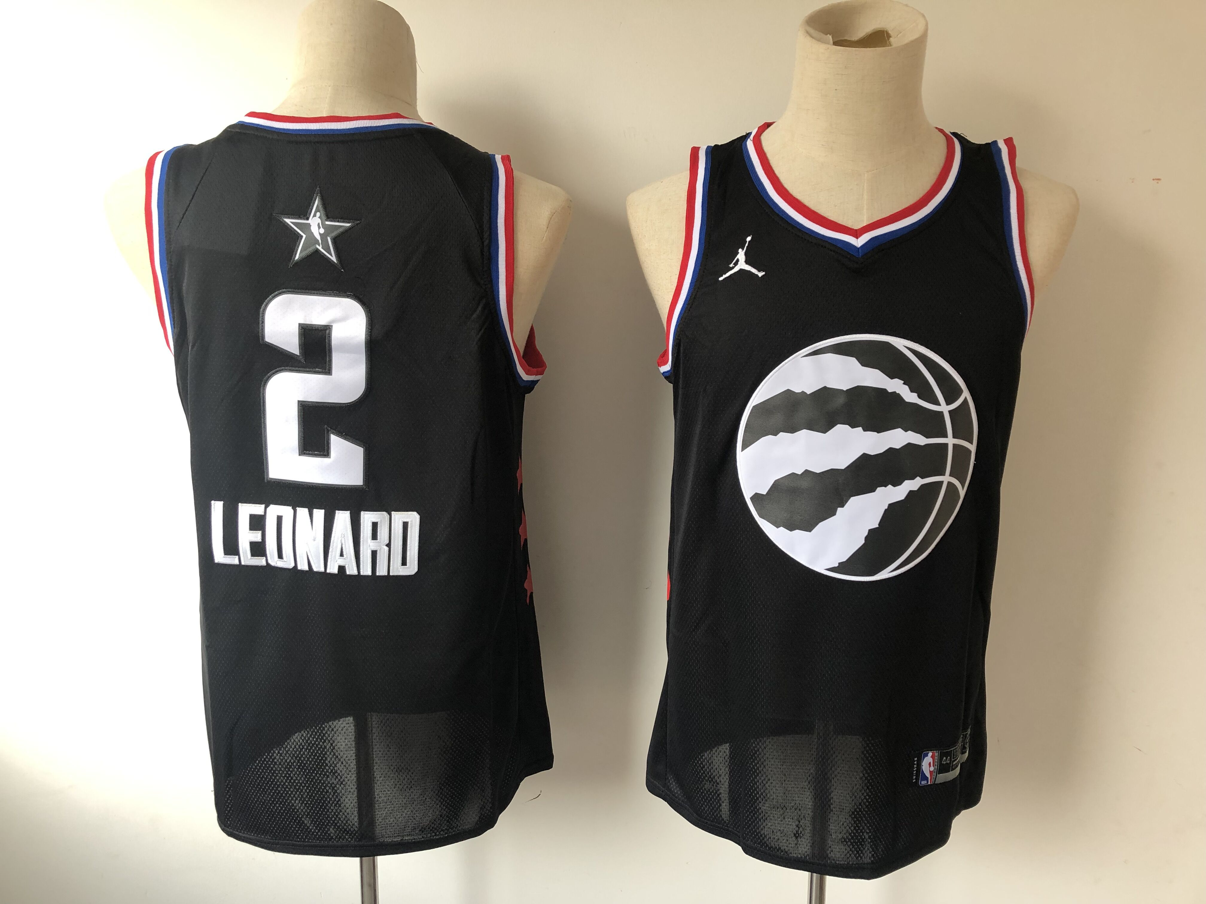 Men Toronto Raptors 2 Leonard Black 2019 All Star NBA Jerseys