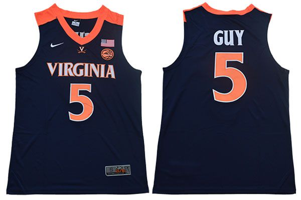 Men Virginia Cavaliers 5 Guy Blue Nike NBA NCAA Jerseys