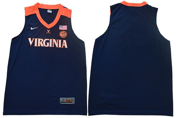Men Virginia Cavaliers Blank Blue Nike NBA NCAA Jerseys