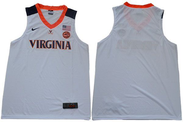 Men Virginia Cavaliers Blank White Nike NBA NCAA Jerseys