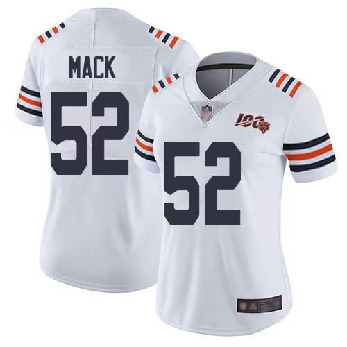 Women Chicago Bears 52 Mack White 100th Anniversary Nike Vapor Untouchable Player NFL Jerseys