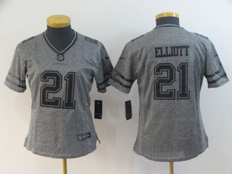 Women Dallas cowboys 21 Elliott Gray Stitched Gridiron Limited NFL Jerseys